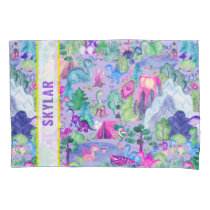 Watercolor Dinosaur Camping Kids Personalized Pillow Case