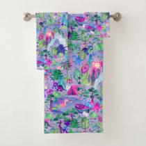 Watercolor Dinosaur Camping Kids Purple Bath Towel Set