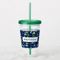Watercolor Dinosaur Kids Personalized Dino Pattern Acrylic Tumbler