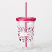 Watercolor Dinosaur Kids Personalized Girls Pink Acrylic Tumbler