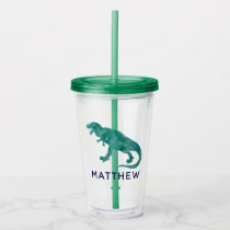 Watercolor Dinosaur Kids Personalized Green Dino Acrylic Tumbler