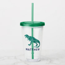 Watercolor Dinosaur Kids Personalized Green Dino Acrylic Tumbler