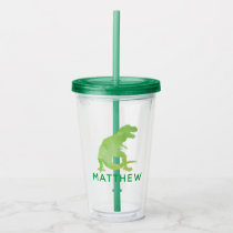 Watercolor Dinosaur Kids Personalized Green T-Rex Acrylic Tumbler