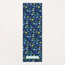 Watercolor Dinosaur Pattern Blue Green Kids Yoga Mat
