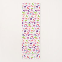 Watercolor Dinosaur Pattern Personalized Kids Pink Yoga Mat