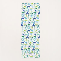 Watercolor Dinosaur Pattern Personalized Kids Yoga Mat