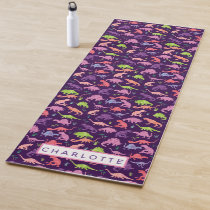 Watercolor Dinosaur Personalized Kids Purple Girls Yoga Mat