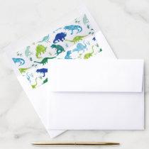Watercolor Dinosaur Silhouette Kids Dino Envelope Liner