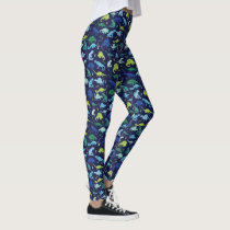 Watercolor Dinosaur Silhouette Pattern Green Blue Leggings