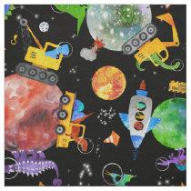 Watercolor Dinosaur Space Construction Cute Kids Fabric