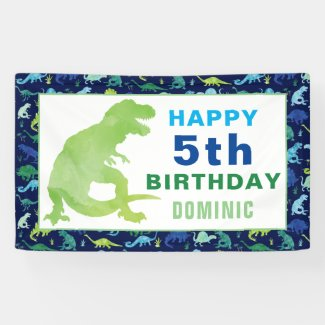 Watercolor Dinosaur T-Rex Birthday Party Banner