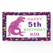 Watercolor Dinosaur T-Rex Birthday Party Girls Banner