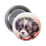 Watercolor Dog Art Button 2 Inch Round Button