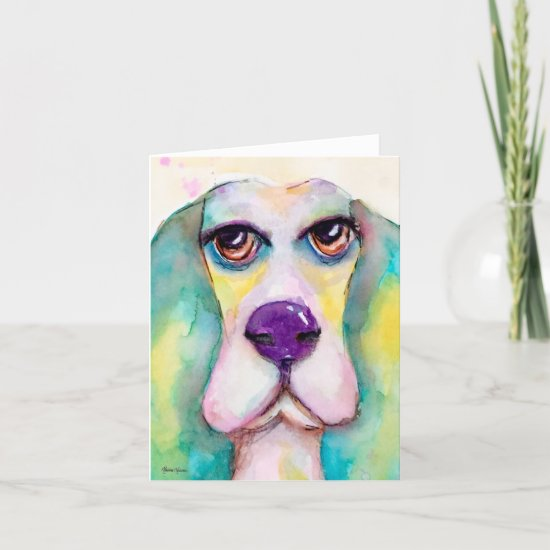 Watercolor Dog Basset Hound Fun Whimsical Art Note Card