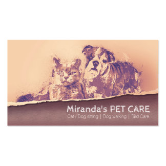 Watercolor Dog Cat Pet Care Shop Grooming Sitting Business Card
