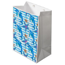 Watercolor Dolphin Pattern Medium Gift Bag