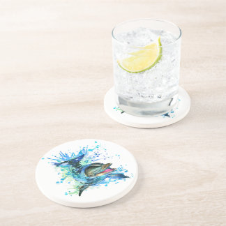 Watercolor Dolphin Sandstone Drink Coaster