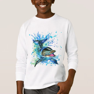 Watercolor Dolphin White Long Sleeve T-Shirt