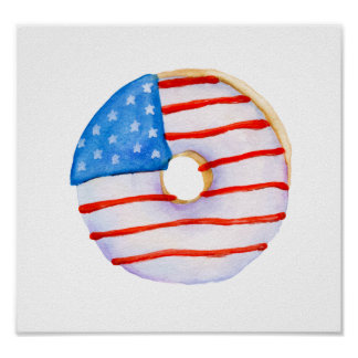 Watercolor donut of Flag of America Poster