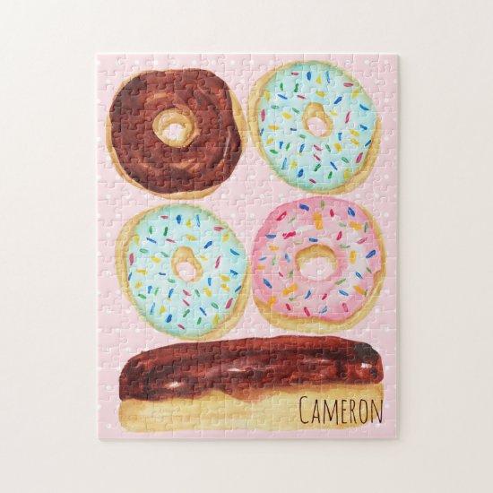 Watercolor Donut Sprinkles Polka Dots Family Name Jigsaw Puzzle