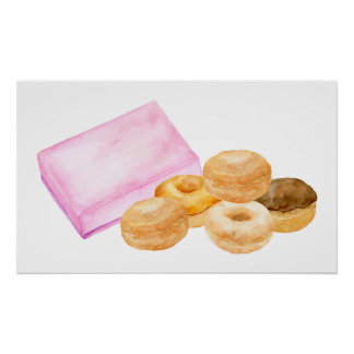 Watercolor donuts and gift box poster
