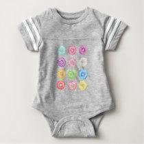 Watercolor donuts pattern baby bodysuit