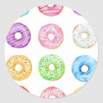Watercolor donuts pattern classic round sticker