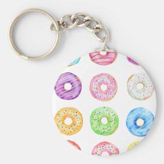 Watercolor donuts pattern keychain