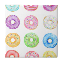 Watercolor donuts pattern tile