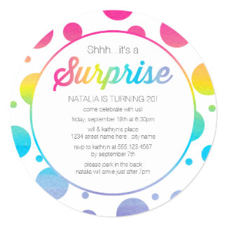 Watercolor Dots Surprise Birthday Party Invitation