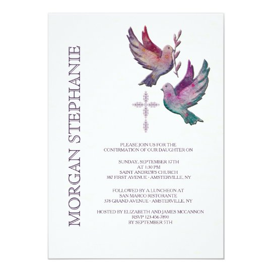 Watercolor Doves Religious Invitation Zazzlecom