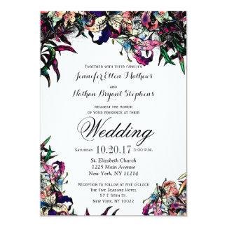 Watercolor Dragon Lilies Wedding Invitations