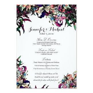 Watercolor Dragon Lilies Wedding Menu Card