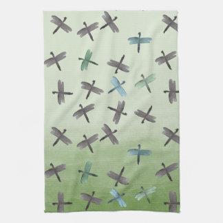 Watercolor Dragonflies Hand Towels