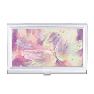 Watercolor Dragonflies Pink Lavender White Case For Business Cards