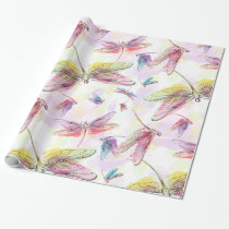 Watercolor Dragonflies Pink Lavender Yellow White Wrapping Paper