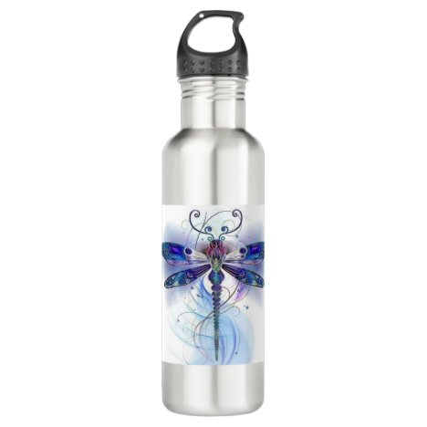 watercolor dragonfly art stainless steel water bottle