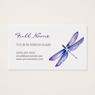 raphaela_wilson Watercolor Dragonfly Business Cards | Purple