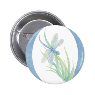 Watercolor Dragonfly in Blue & Green Nature Art Buttons