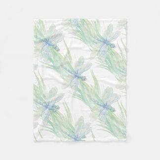 Watercolor Dragonfly in Soft Blues & Green art Fleece Blanket