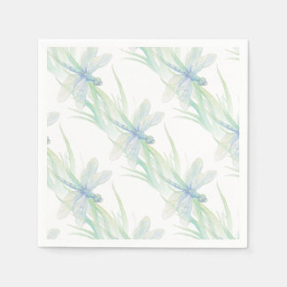 Watercolor Dragonfly in Soft Blues & Green art Paper Napkin