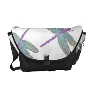 Watercolor Dragonfly Pattern Courier Bag