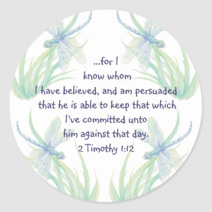 Watercolor Dragonfly Scripture Timothy Encourage Classic Round Sticker