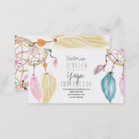 Watercolor dreamcatcher feathers yoga instructor business card