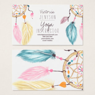 Yoga instructor business cards templates zazzle watercolor dreamcatcher feathers yoga instructor business card colourmoves