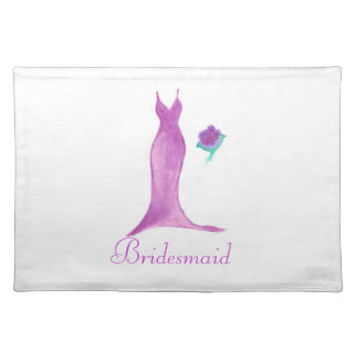 Watercolor Dress and Bouquet Bridesmaid Placemat