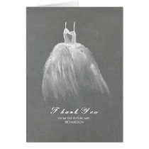 Watercolor Dress Vintage Bridal Shower Thank You Card