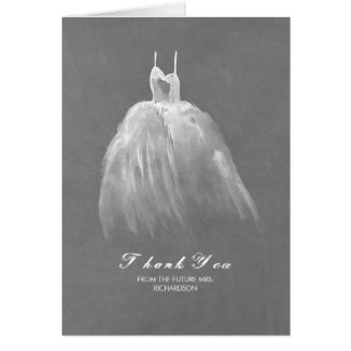 Watercolor Dress Vintage Bridal Shower Thank You Card
