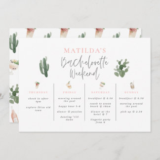 Watercolor drinks bachelorette weekend itinerary