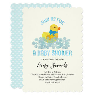 Watercolor Duck Baby Shower Invitation, blue Card